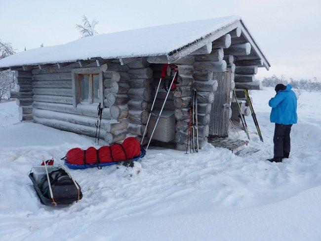 En el refugio libre de Taimenjärvi en el Área Natural de Hammastunturi