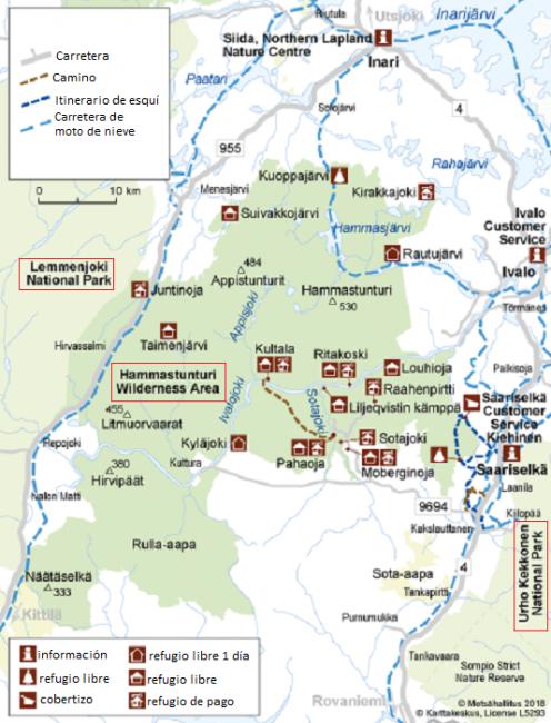 Itinerarios y refugios en el Área Natural de Hammastunturi