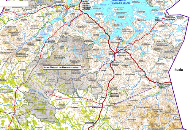 Mapa mostrando la ubicación del Área Natural de Hammastunturi en Finlandia