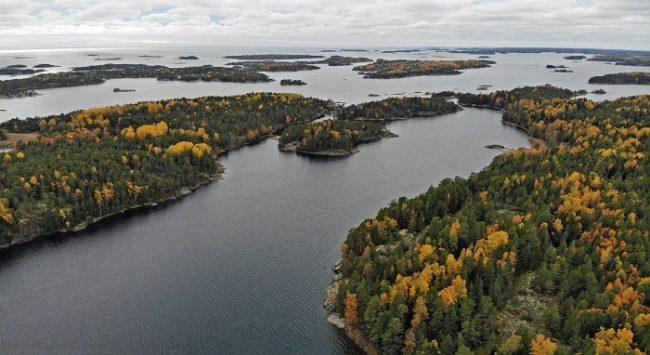 Detalle del Parque Nacional del Archipiélago de Ekenäs en otoño