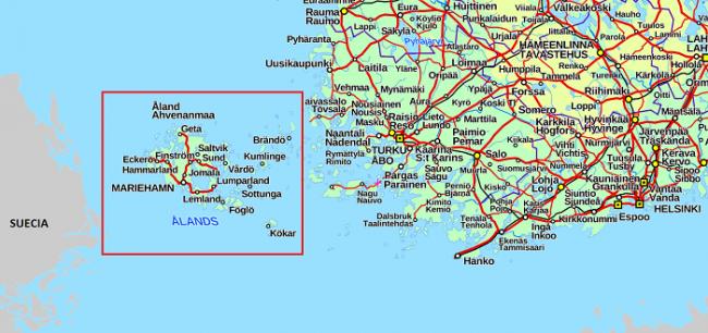 Mapa donde se ubican las islas Åland