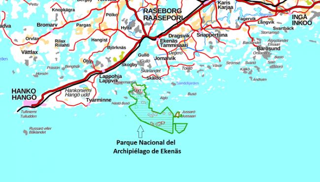Mapa mostrando la ubicación del Parque Nacional del Archipiélago de Ekenäs