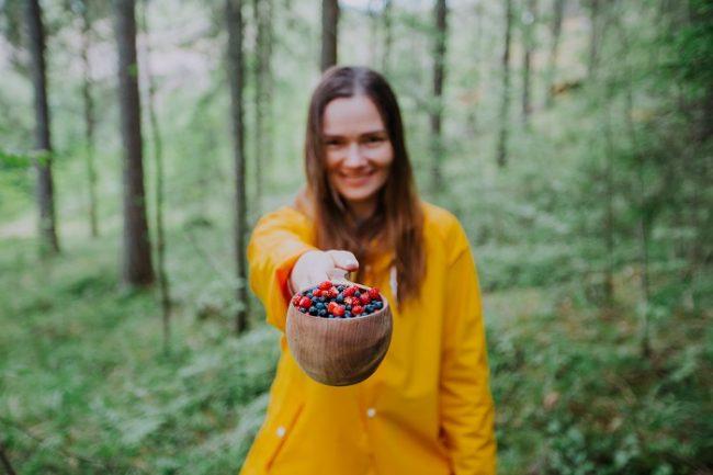 Recogiendo bayas en el bosque de Finlandia