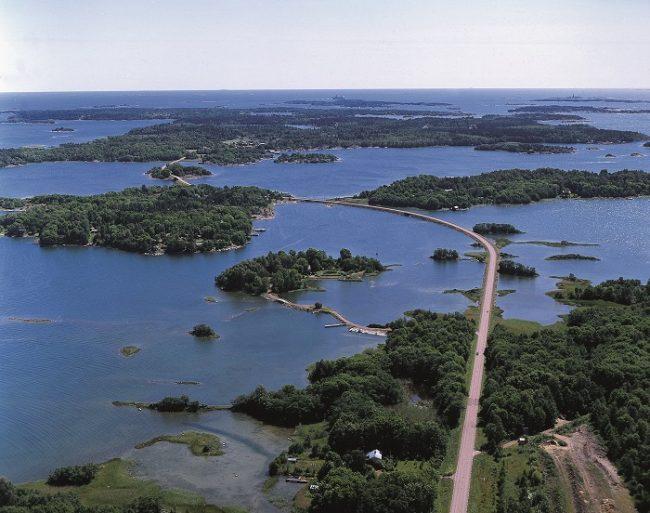 Vista aérea de una porción de las islas Åland