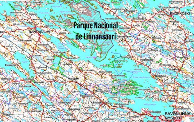 Mapa mostrando la ubicación del Parque Nacional de Linnansaari