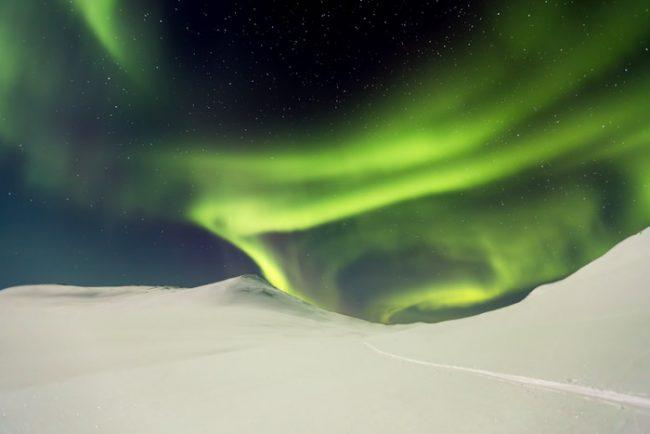 Aurora Boreal en Enontekiö muy cerca de la frontera con Noruega