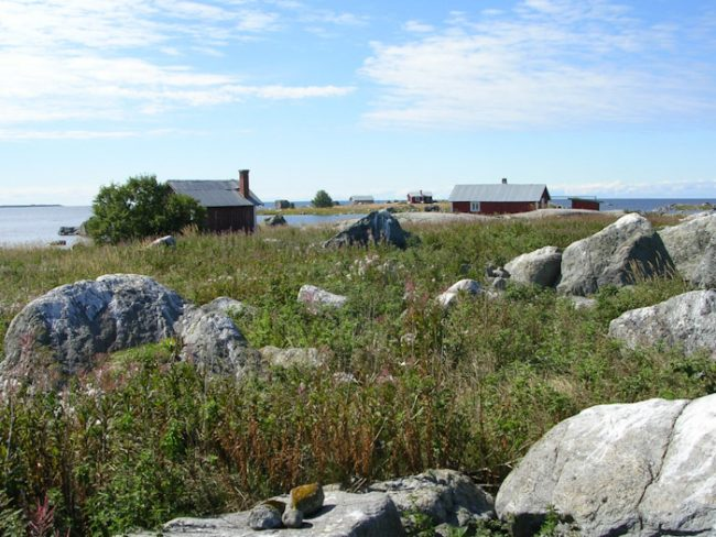 Cabañas en la isla Replot en el archipiélago de Kvarken